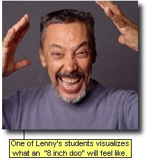 One of Lenny's students visualize what an '8-inch doo' will feel like.