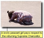 A lowly peasant girl pays respect to the returning Supreme Chancellor.